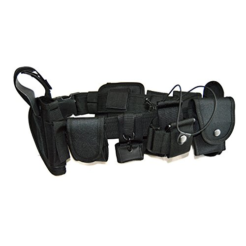 Fireclub 10 Pieces Parts in One Set MilitaryTactical Waist Belt Equipment System for Police Security Guard SWAT Utility Kit Law Enforcement Versatile Modular Design Waterproof Nylon Black
