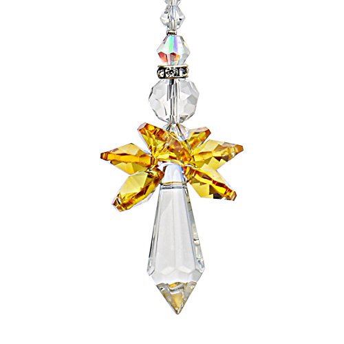 Qf Rainbow Guardian Angel Crystal Suncatcher For Home/Car Decoration & Porch Decor & Hangings Crystal Glass Ornament (Yellow)