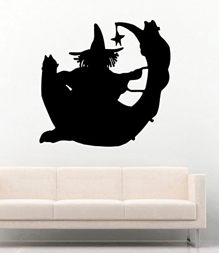 Halloween Vinyl Wall Decals Silhouette Witch with Cat