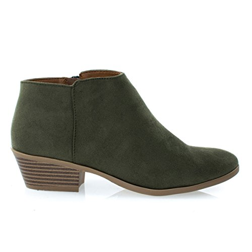 Soda Chunky Block Olive Western Heel Light Low w Stacked Women's Bootie Ankle 4rwq4Rx