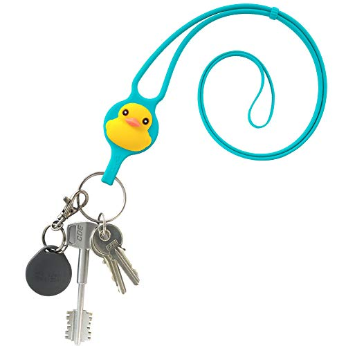 Multi-Purpose Silicone Lanyard Neck Strap with Card Case Cute Animal Cartoon Logo for Keys Keychain ID Holder Name Badge, Card Tie Series - Patti Duck (Blue)