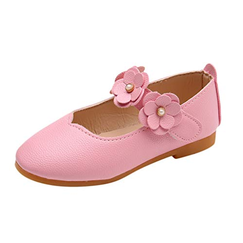 Toponly Infant Baby Girls Soft Sole Prewalker Crib Solid Flower Mary Jane Shoes Princess Light Shoes