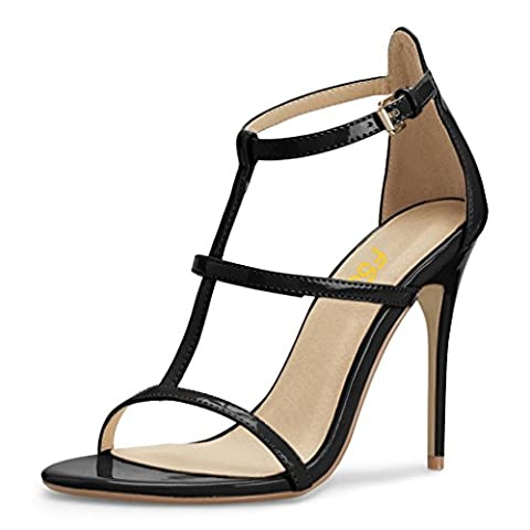 FSJ Women Fashion Evening Dancing Sandals Strappy Open Toe High Heel Stiletto Shoes Size 8.5 Black - Patent Strappy Stiletto Heel