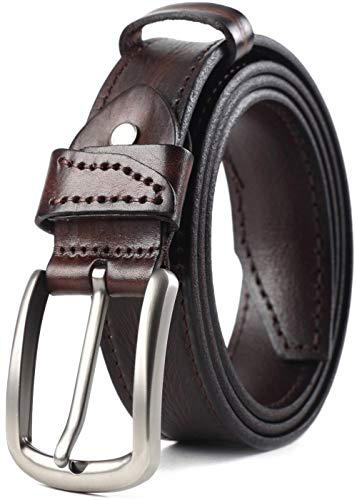 COW STAUNCH Men's Belt Genuine Leather Dress Casual Classic with Black Brown,100% Full Grain Leather Belt Jeans Single Prong Big Buckle Serie 1(brown, 40-42inch)
