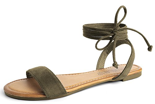 SANDALUP Tie Up Ankle Strap Flat Sandals for Women Khaki Green ()