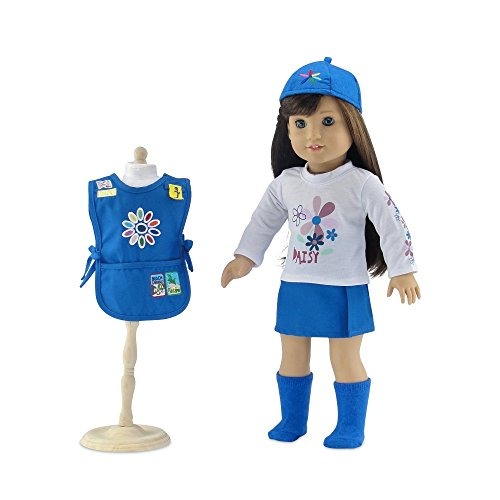 18 Inch Doll Clothes | Daisy Girl Scout-Inspired 5 Piece Outfit, Including Tunic with Embroidered Patches! | Fits American Girl Dolls | Gift Boxed!