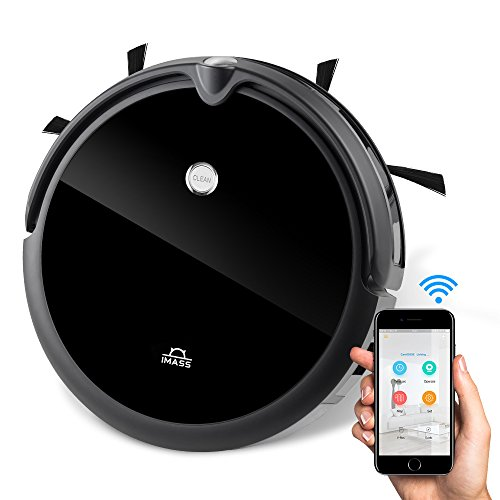 Robot Vacuum Cleaner Mop IMASS A3-VBL Robotic Cleaner Camera Wi-Fi Connectivity App Control Daily Planning Pet Hair, Care Carpet, Hardwood, Tile Floor (Black)