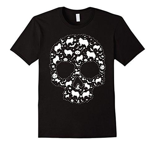 Eskimo Costume Male (Mens Pooch Sugar Skull T-shirt cute American Eskimo Dog XL Black)