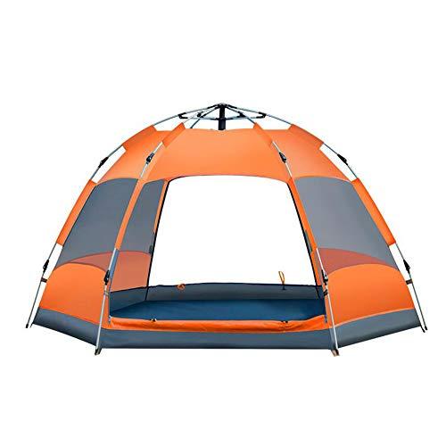 短くする勇者ベンチDALL テント テント 自動 ダブルストーリー 2-3人 六角 ビッグテント アウトドア キャンプ 雨 (色 : Orange)