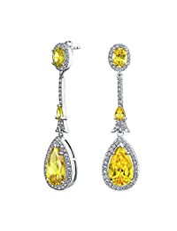 Art Deco Style Long Teardrop Statement AAA CZ Chandelier Dangle Earrings For Women For Prom Silver Plated More Colors
