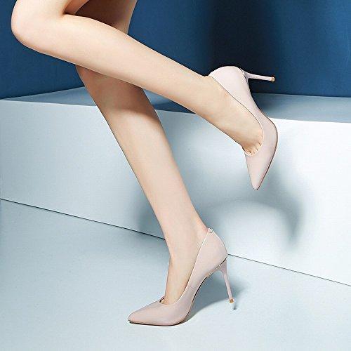 de 38 Punta Tacones de Fina de Otoño de Trabajo de Suela Rosado Altos Negro Zapatos Sex con Femeninos Charol DHG Primavera de Y Cuero Color Zapatos w4dUqpUx