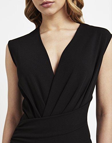 Ausschnitt V Lipsy Details Damen Passform Normale Schwarz Kleid Ärmelloses Vorne Bodycon xXXaBHq