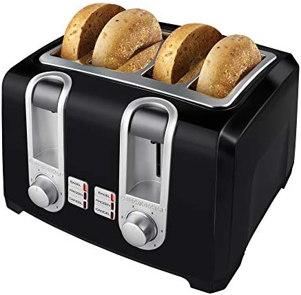 BLACK+DECKER T4569B 4-Slice Toaster, Bagel Toaster, Black