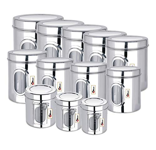 EBun-Stainless-Steel-Set-of-12-Canisters-Containers-Ubha-Dabba-with-lid-for-Kitchen-Storage-30050065085012001400195025003200400050006000-GMS