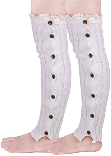 Cheap White Knee High Boots (White Leg Warmers Knee High Knit Boot Cuffs Lace Trim Socks for Women Girls)