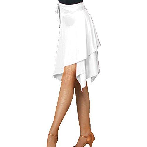 (YOUMU Women Latin Salsa Tango Dance Skirt Dress Skate Wrap Scarf Dancewear Swing Rumba ChaCha Ballroom Costume White)