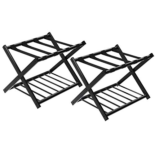 Luggage Walnut Rack (SONGMICS Metal Folding Luggage Rack with Shelf (Pack of 2),Luggage Stand for Suitcase, for Home, Bedroom, Guestroom, Hotel Rooms, Black URLR65B-2)