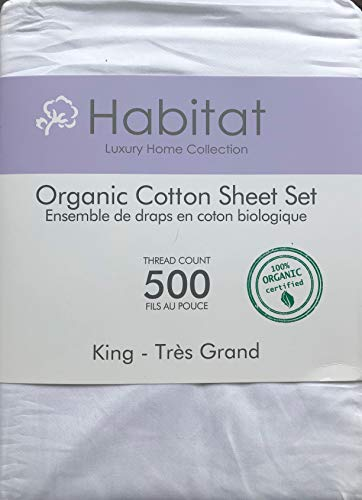 Habitat Organic Cotton Solid White 4pc King Sheet Set Luxury Fine Linens 500 Thread Count