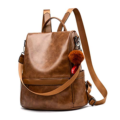 Women Backpack Purse PU Leather Anti-theft Casual Shoulder Bag Fashion Ladies Satchel ()