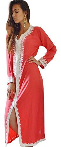 Pink Resort mit Cover Schnitt fashioncotton Damen New Wear Weiß Up Kaftan handgefertigt qn0FgwBS