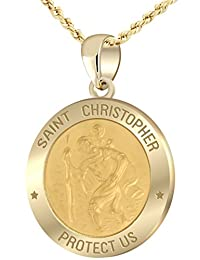 9/16in Hollow 14k Yellow Gold St Saint Christopher Pendant Charm Necklace