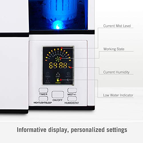 4L Ultrasonic Humidifiers for Large Bedroom US TaoTronics Cool Mist Humidifier