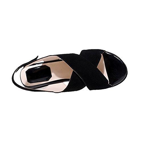 AllhqFashion Mujeres Sólido Esmerilado Plataforma Velcro Puntera Abierta Sandalia Negro
