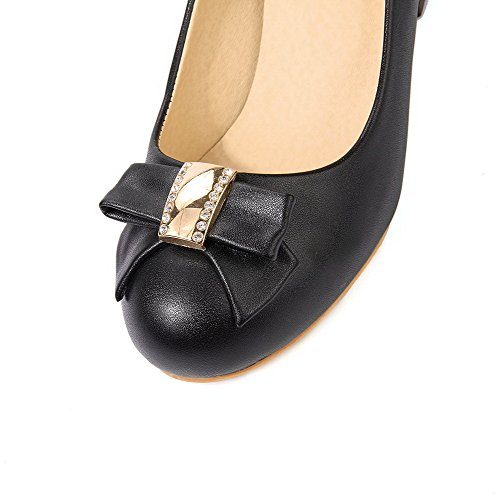 Solid Heels Pull Round Pumps PU Toe On Kitten Shoes Women's WeenFashion Black fnqRwaOx