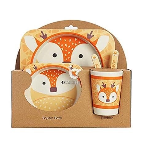 Icycheer enfants de table Lot de 5pcs Bébé en fibre de bambou Bol de dessin animé mignon Animal de table pour enfant Tasse Cuillère Fourchette