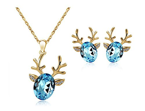 Luck Wang Woman's Unique Antlers Fashion Jewelry Pearl Necklace Earring Piece Fitted(1#) (Akuma Halloween Costume)