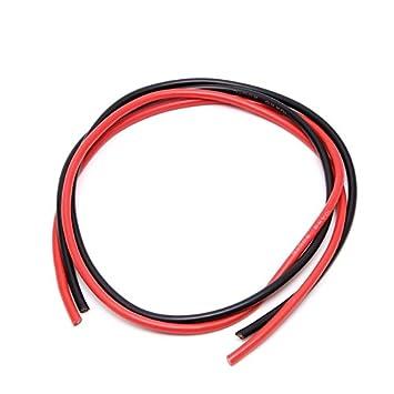SMALLJUN C/âble de Silicone 12 AWG de Calibre Flexible /à torons de c/âblage Souple en V 5m pour RC Noir Rouge