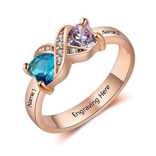 Love Jewelry Personalized Infinity Mothers Ring with 2 Heart Simulated Birthstones Engagement Promise Rings for Women (Rose Gold, 6)