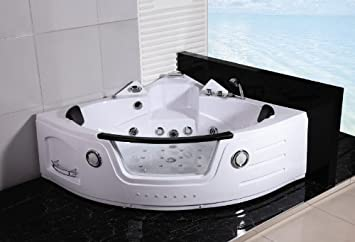 2 Person Bathtub White Corner Unit Jetted Whirlpool 16 Massage Jets Built In Heater Waterfall Faucet Fm Radio Spa Hot Tub Model Sd050a Wh Amazon Co Uk Diy Tools