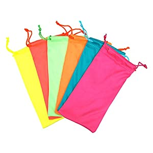 12 PCS Neon Color Drawstring Eyeglasses Microfiber Soft Pouch Case