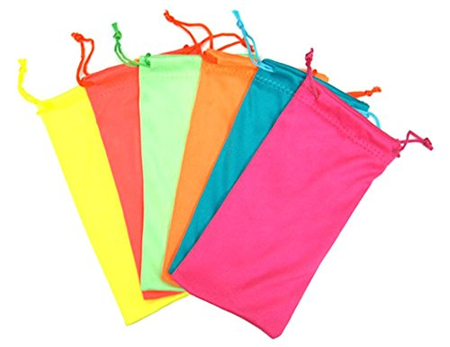12 PCS Neon Color Drawstring Eyeglasses Microfiber Soft Pouch - Cheap Sunglasses Wholesale