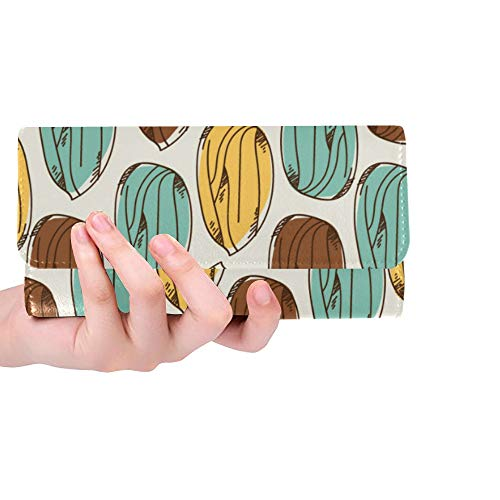 Unique Custom Almond Dried Fruit Casual Snack Ideas Women Trifold Wallet Long Purse Credit Card Holder Case Handbag