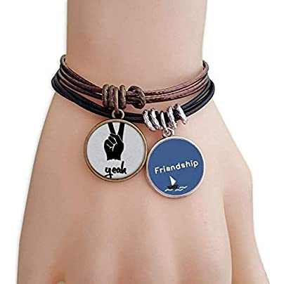 YMNW Scissors Silhouette Personalized Gesture Friendship Bracelet Leather Rope Wristband Couple Set Estimated Price -