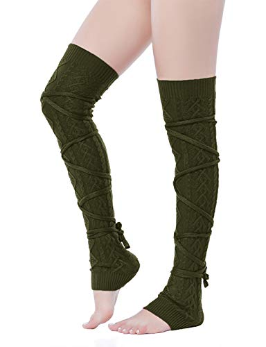 V28 Women Over Knee Cable Knit Ribbed Crochet Long Boot Leg Warmers (XS-M,Argn) (Cable Womens Tights)
