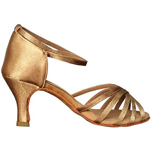 tacón Vashcame De Alto Latino Para medio Mujer 7cm Tacón Beige Baile zapatos OOxqfrv