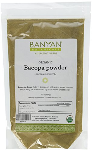 Banyan Botanicals Bacopa Powder, 1/2 Pound - USDA Organic - Bacopa monniera - Ayurvedic Herb for Memory & (Gotu Kola Herb Powder)