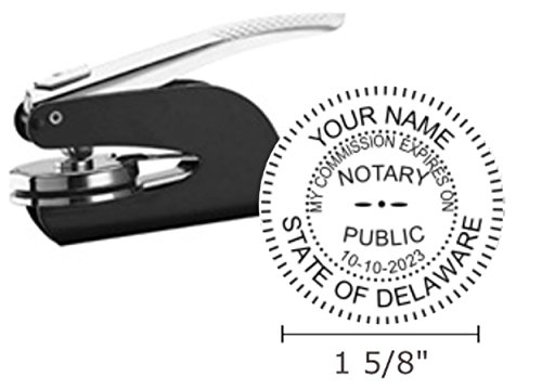 Pocket Seal Embosser - Delaware Notary Seal Embosser, Pocket/Hand Model, 1-5/8