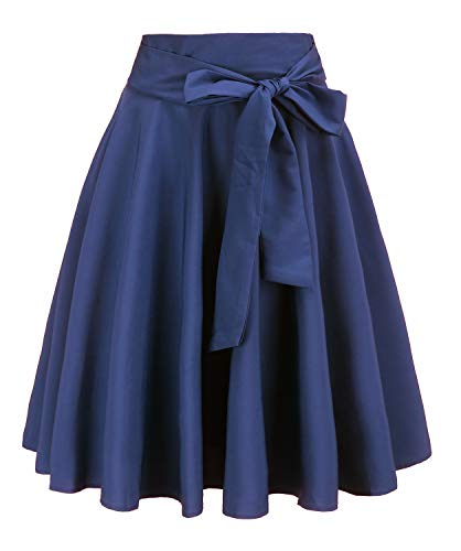 (MYIFU Women's Vintage Bowknot High Waist A Line Midi Skirt with Pockets)