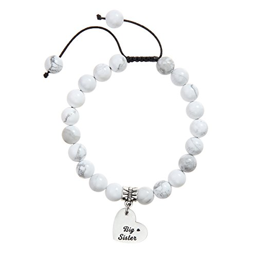 Meibai Hand-woven 8mm Natural Stone Beads Bracelet with Stainless Steel Heart Charm for Family Friends (BIG SISTER(Howlite))