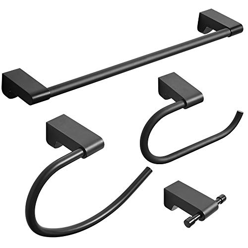 BESy Matte Black 4 Piece Bathroom Accessories Set (Single Towel Bar, Towel Ring, Toilet Paper Holder, Double Towel Hooks…