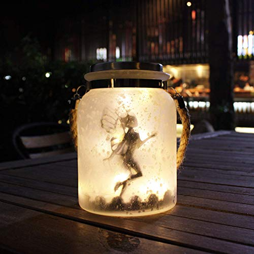 Solar Lantern Fairy Lights, Ideal for Great Gifts, White Frosted Glass Hanging Jar Solar Lights Outdoor Decorative, 20 Warm White Mini LED String Lights (6.25 Tall)