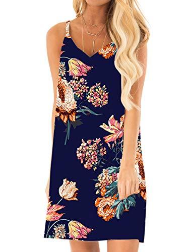 Womens Spaghetti Straps V Neck T Shirt Strappy Summer Beach Sun Dresses M
