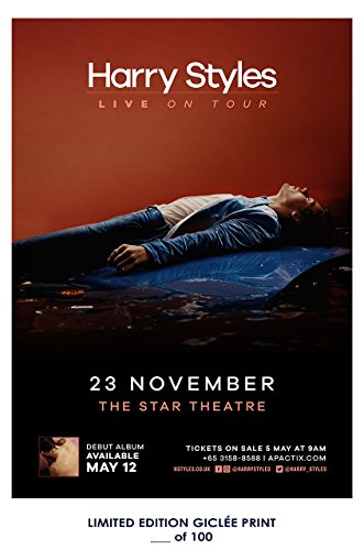 RARE POSTER thick HARRY STYLES live on tour REPRINT #'d/100!! 12x18