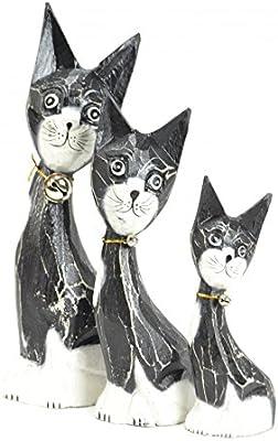 Lot 3 estatuillas de familia gatos y gatitos de madera: Amazon.es: Hogar
