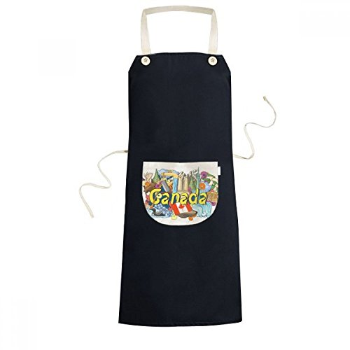 cold master DIY lab Rocky Mountains CN Tower Maple Canada Graffiti Cooking Kitchen Black Bib Aprons Pocket Women Men Chef Gifts