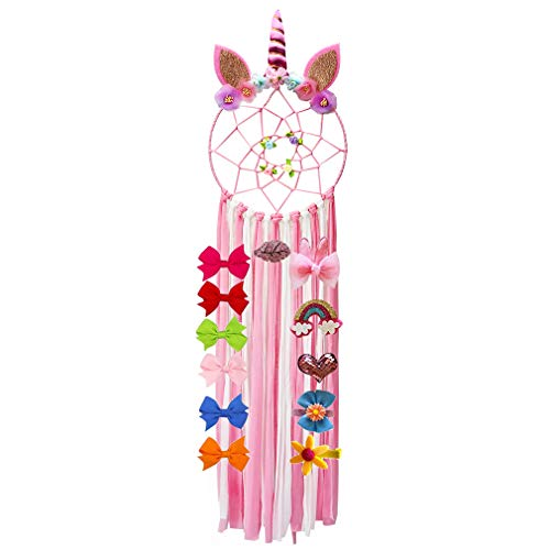 BOSHANDA Unicorn Hair Bow Holder Organizer for Girls,Dream Catcher for Kids, Flower Hair Clips Storage Wall Hanging Decoration for Baby Girls Bedroom